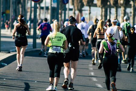 Tel Aviv Israel February 28, 2020 View of unidentified people running the marathon in the streets of Tel Aviv in the morning