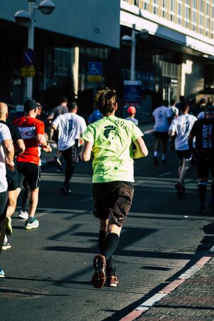 Tel Aviv Israel February 28, 2020 View of unidentified people running the marathon in the streets of Tel Aviv in the morning Stock fotó