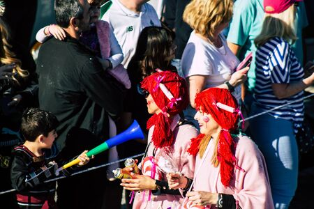 Paphos Cyprus March 01, 2020 View of unidentified people taking part in the Paphos carnival in the afternoon Imagens