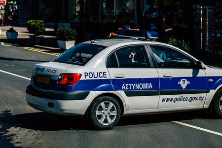Paphos Cyprus March 01, 2020 View of a police car parked in the streets of Paphos in the afternoon Archivio Fotografico