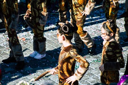 Paphos Cyprus March 01, 2020 View of unidentified people taking part in the Paphos carnival in the afternoon