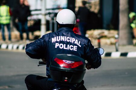 Paphos Cyprus March 01, 2020 View of a police motorcycle in the streets of Paphos in the afternoon