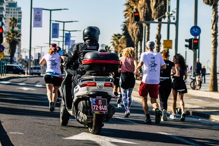 Tel Aviv Israel February 28, 2020 View of a Israeli police in the streets during the Marathon of Tel Aviv
