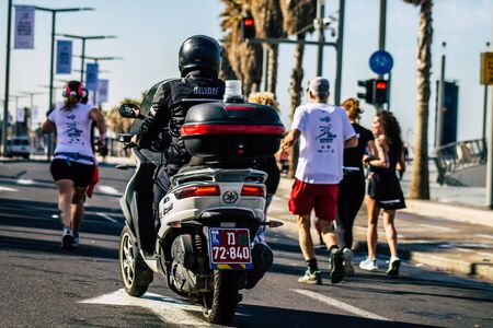 Tel Aviv Israel February 28, 2020 View of a Israeli police in the streets during the Marathon of Tel Aviv
