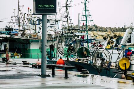 Limassol Cyprus March 12, 2020 View of boats moored in the marina of Limassol during a raining day