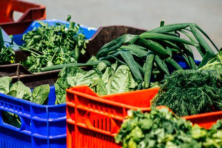 View of various vegetables sold at the market of Limassol in the morning