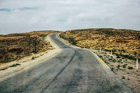 Negev Israel April 14, 2018 View of the road that crosses the Negev desert in Israel