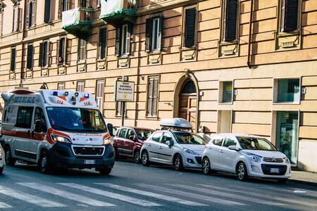 Rome Italy October 18, 2019 View of a Italian ambulance rolling through the streets of Rome in the evening