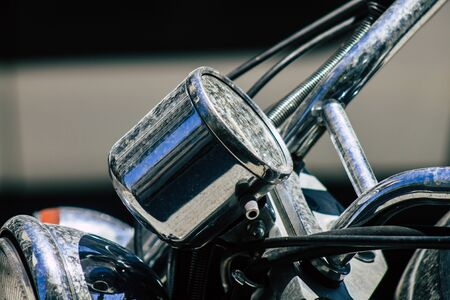 Closeup of a motorcycle parked in the streets of Limassol in Cyprus island