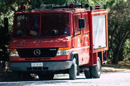 Athens Greece August 28, 2019 View of traditional Greek fire engine parked in the streets of Athens in the afternoon Stock Photo