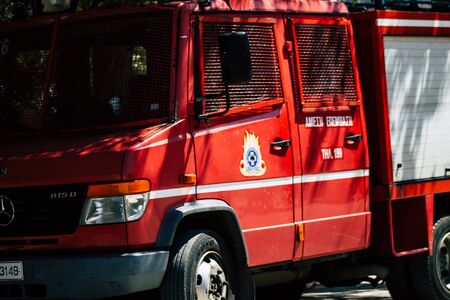 Athens Greece August 28, 2019 View of traditional Greek fire engine parked in the streets of Athens in the afternoon Stockfoto