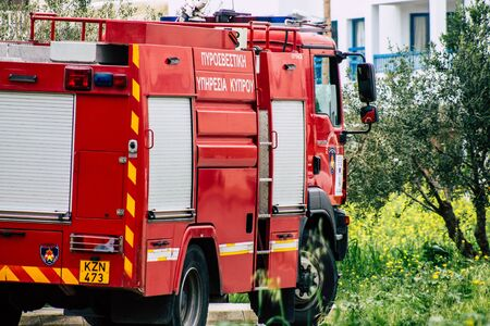 Paphos Cyprus March 05, 2020 View of a Cypriot fire truck on a intervention site during a brush fire near Paphos