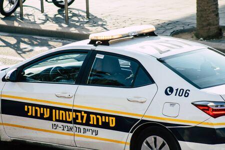 Tel Aviv Israel December 08, 2019 View of a Israeli police car rolling in the street of Tel Aviv in the afternoon
