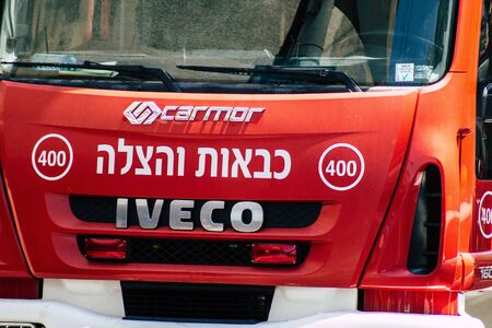 Tel Aviv Israel July 22, 2019 View of a Israeli fire truck parked in the streets of Tel Aviv in the afternoon