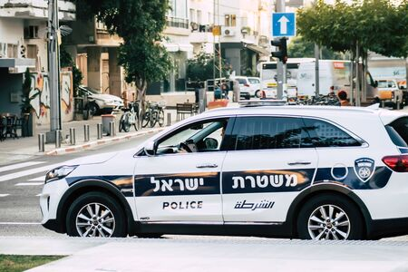 Tel Aviv Israel December 23, 2019 View of a Israeli police car rolling in the streets of Tel Aviv in the afternoon