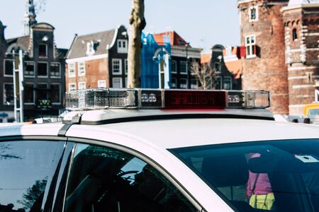 Amsterdam Netherlands April 8, 2019 View of a Dutch police car parked in the streets of Amsterdam in the afternoon Stock Photo