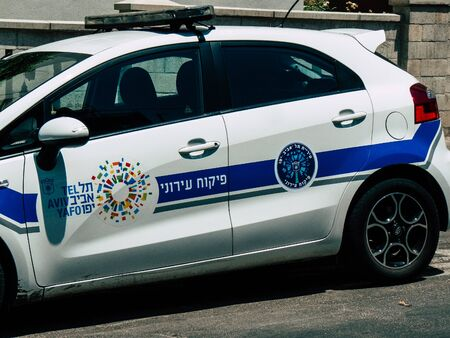 Tel Aviv Israel August 9, 2019 View of a local Israeli police car of the city of Tel Aviv rolling in the streets in the afternoon Stock Photo