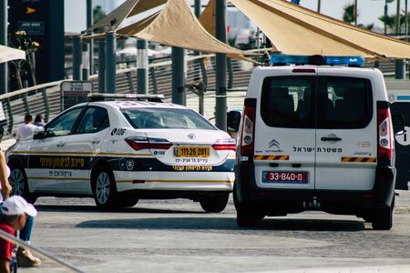 Tel Aviv Israel July 21, 2019 View of a Israeli police car parked in the streets of Tel Aviv in the afternoon