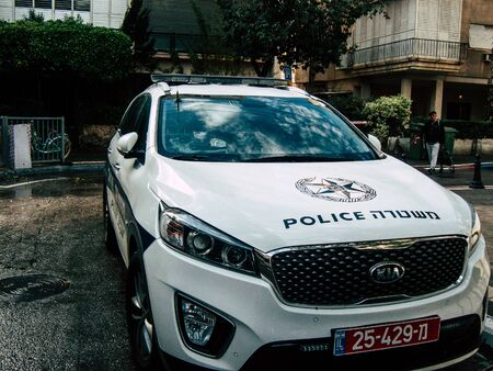 Tel Aviv Israel December 21, 2018  View of a Israeli police car parked in the street of Tel Aviv in the afternoon