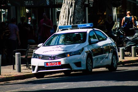 Tel Aviv Israel August 13, 2019 View of a Israeli police car rolling in the streets of Tel Aviv in the afternoon