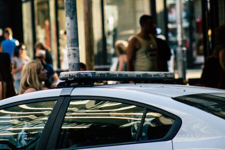 Tel Aviv Israel August 13, 2019 View of a local Israeli police car of the city of Tel Aviv rolling in the streets in the afternoon