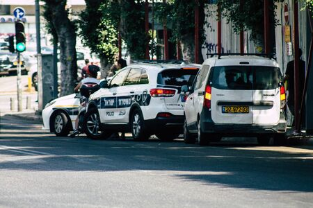 Tel Aviv Israel July 21, 2019 View of a Israeli police car rolling in the streets of Tel Aviv in the afternoon