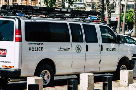 Jerusalem Israel June 24, 2019 View of a Israeli police car rolling in the streets of Jerusalem in the afternoon