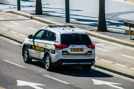 Tel Aviv Israel February 12, 2020 View of a Israeli police car rolling in the streets of Tel Aviv in the morning Stok Fotoğraf
