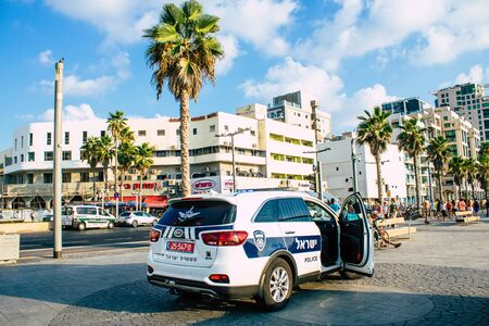 Tel Aviv Israel September 07, 2019 View of a Israeli police car parked front the beach in Tel Aviv in the afternoon