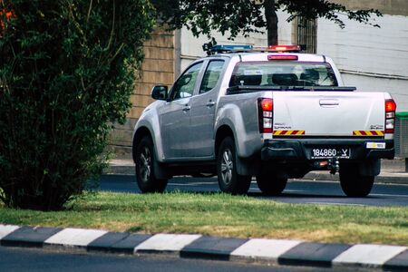 Tel Aviv Israel July 27, 2019 View of a Israeli police car rolling in the streets of Tel Aviv in the afternoon