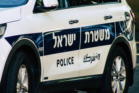 Tel Aviv Israel August 24, 2019 View of a Israeli police car rolling in the streets of Tel Aviv in the afternoon
