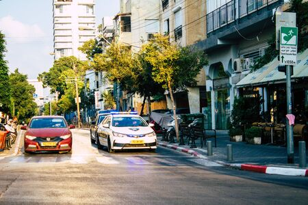 Tel Aviv Israel September 08, 2019 View of a Israeli police car rolling in the streets of Tel Aviv in the afternoon