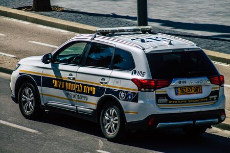 Tel Aviv Israel February 12, 2020 View of a Israeli police car rolling in the streets of Tel Aviv in the morning