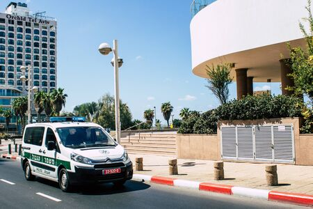 Tel Aviv Israel September 19, 2019 View of a Israeli police car rolling in the streets of Tel Aviv in the afternoon