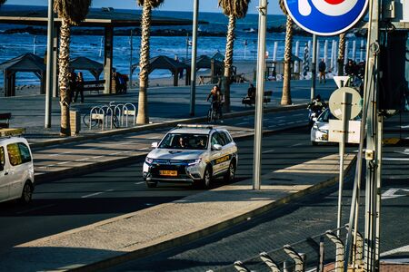 Tel Aviv Israel January 30, 2020 View of a Israeli police car rolling in the streets of Tel Aviv in the afternoon
