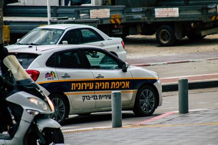 Ramat Gan, Israel January 08, 2020 View of a Israeli police car rolling in the streets of Ramat Gan in the afternoon