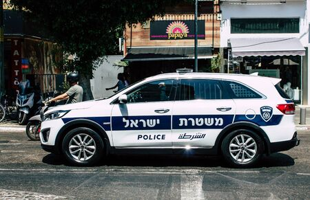 Tel Aviv Israel July 11, 2019 View of a Israeli police car rolling in the streets of Tel Aviv in the afternoon
