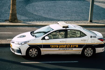 Tel Aviv Israel December 08, 2019 View of a Israeli police car rolling in the street of Tel Aviv in the afternoon