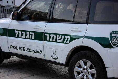 Jerusalem Israel April 16, 2018, View of a Israeli police car in the street of Jerusalem afternoon
