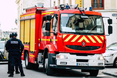 Paris France May 25, 2019 View of French fire engine parked in the streets of Paris in the afternoon