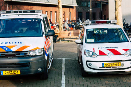 Amsterdam Netherlands April 8, 2019 View of a Dutch police car parked in the streets of Amsterdam in the afternoon