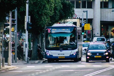 Tel Aviv Israel January 23, 2020 View of a traditional Israeli public city bus rolling in the streets of Tel Aviv in in the afternoon Stock fotó