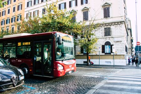 Rome Italy October 18, 2019 View of a public bus rolling through the streets of Rome in the evening