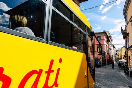 Nepi Italy September 25, 2019 Closeup of a school bus driving through the streets of Nepi in the afternoon