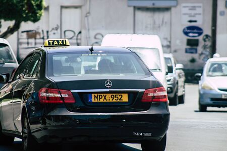 Limassol Cyprus May 14, 2020 View of a traditional Cypriot taxi rolling in the streets of Limassol in Cyprus island Reklamní fotografie