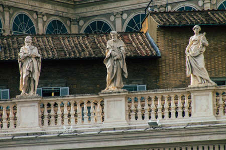 Vatican City Italy October 18, 2019 View of marble statues located at the St Peter's Basilica square in the Vatican City in the afternoon