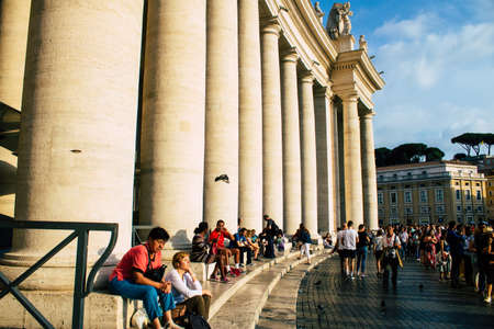 Vatican City Italy October 18, 2019 View of unknown people visiting St Peter's Square at Vatican City in the afternoon Redakční
