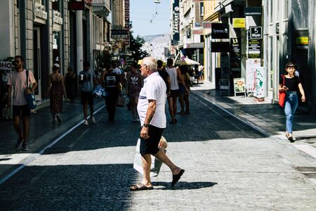Athens Greece August 29, 2019 View of unknowns people walking and shopping at Ermou street in Athens in the afternoon