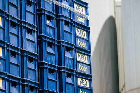 Limassol Cyprus May 26, 2020 View of boxes of Keo beer at the brewery of Limassol in Cyprus island