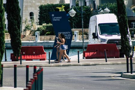 Limassol Cyprus May 26, 2020 View of unidentified people walking in the streets of Limassol in Cyprus island
